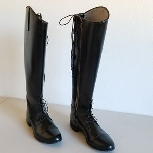 Vintage leather lace up English riding boots